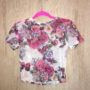 Tops - Floral Mesh Top, GREAT condition, short-sleeved